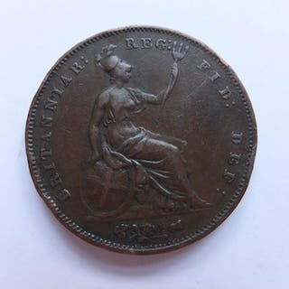 COINS : 1853 Penny OT good to fine