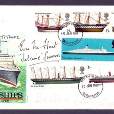 AUTOGRAPHS : TITANIC Survivors signed 1969 Ships FDC, Millvi...