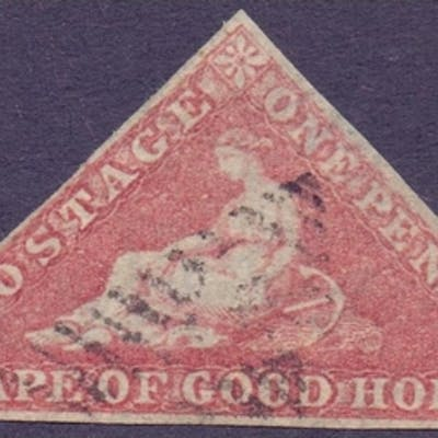 STAMPS : Cape of Good Hope 1853 1d Brick-Red fine used SG 3