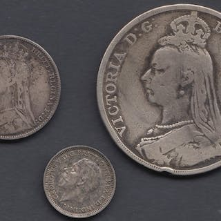 COINS : 1889 Great Britain silver crown, 1892 Shilling and 1...