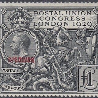 GREAT BRITAIN STAMPS 1929 PUC £1 mint single overprinted SPE...