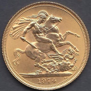 GOLD COIN : 1974 Full Sovereign in fine condition