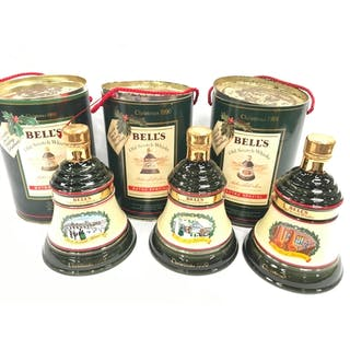 3 boxed Bell's Old Scotch Whisky Wade porcelain Christmas de...