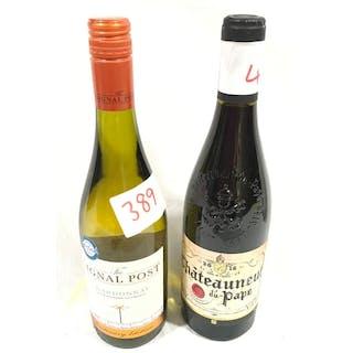 Two bottles of wine. Ref 389, 416.