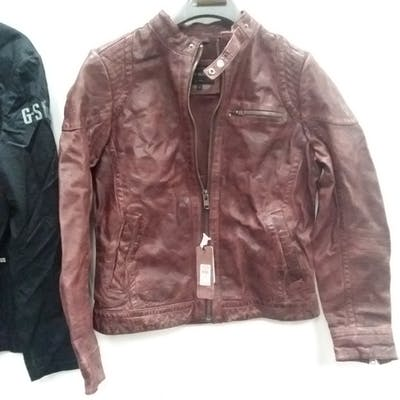 A River Island men's medium brown leather jacket.(5).
