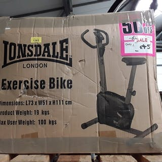 A Lonsdale exercise bike in box.