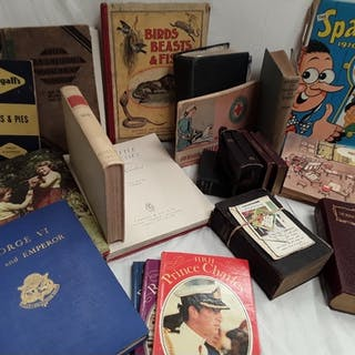 A collection of books and ephemera, incl cartoons (Giles), n...