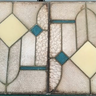 Two stained glass inlaid panels.
