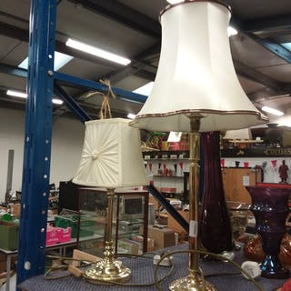 Two brass table lamps with shades.