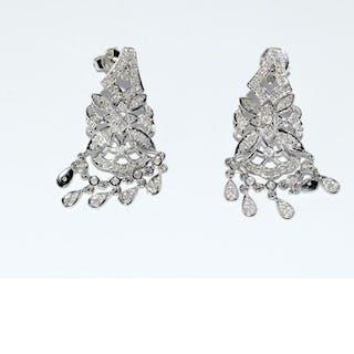 A pair of fine 14ct white gold Art Deco style diamond drop e...