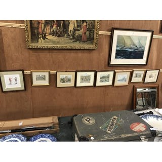 eight various small framed prints and pictures to include ma