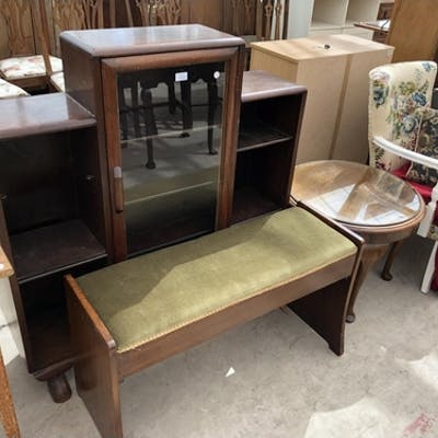 Four Items Display Bookcase Round Coffee Table Painted C