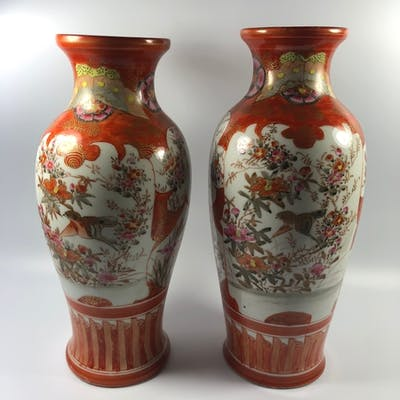 A NEAR PAIR OF JAPANESE MEIJI PERIOD KUTANI VASES, SIGNED TO...