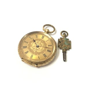 A LADIES VICTORIAN 18CT YELLOW GOLD POCKET WATCH, WORKING WI...