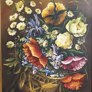 An oil on board still life of Flowers, signed lower left.