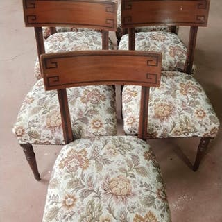 A good set of seven Regency Mahogany Dining Chairs with ebon...