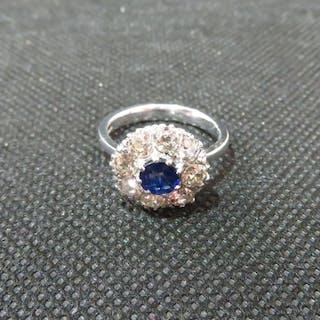 18ct white gold 2ct diamond and 1ct sapphire ring