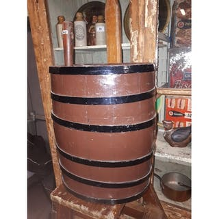 19th C Oak Wine Barrel With Metal Hoops Current Sales