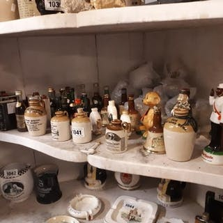 Large collection of miniature Scotch and Cognac bottles most...