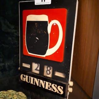 Rare 1950s Perspex Guinness calendar {24 cm H x 16 cm W}.