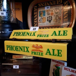 Two Phoenix Prize Ale Perspex shelf advertising signs {6 cm ...