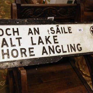 Salt Lake Shore Angling bi - lingual alloy finger post sign....