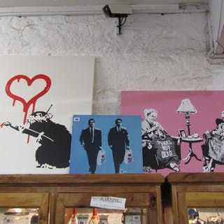 """BANKSY, picture of """"Love Rat"""" and 2 other pictures on canvas"""