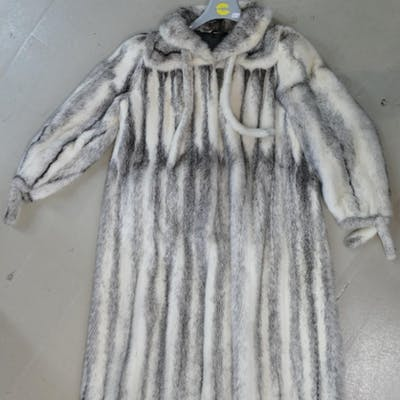 Saga branded Mink Coat: White Mink full length fur jacket ap...