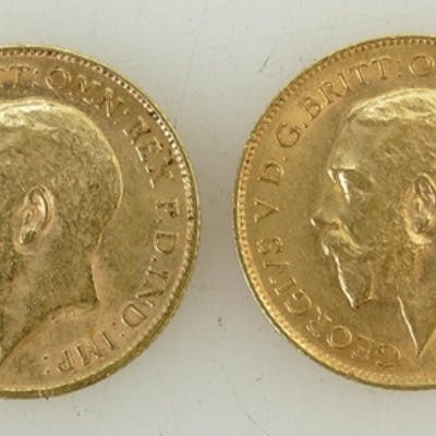 2 x Half Sovereign gold coins: George V half sovereigns date...