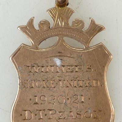 9ct Rose gold medal: Medal for 'Winners Stoke United 1921 D....