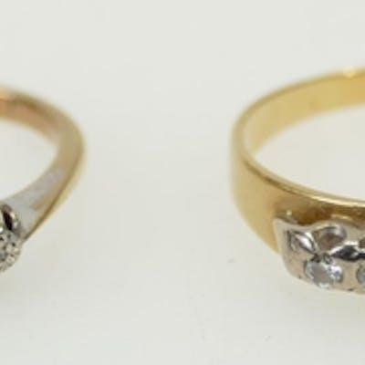 18ct & 9ct diamond rings: 18ct 5 stone ring 3.2g size R1/2, ...