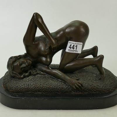 Large Bronze Art Deco Figure: on a marble base