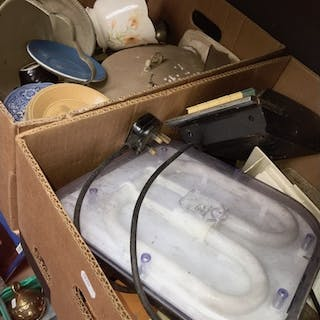 2 boxes miscellaneous including pottery and a cassette recor...