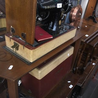 A cased electric Singer Class 99K sewing machine, with lead ...