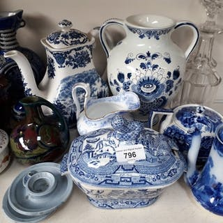 Two Gouda vases and various blue and white pottery etc.