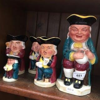 Five toby jugs