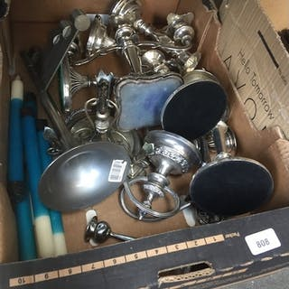 A box of silver plate candelabra