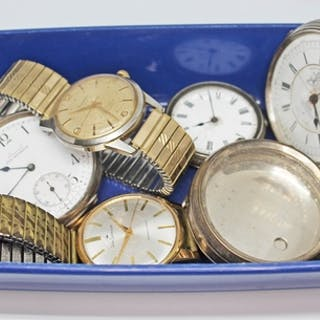 A mixed lot of watches including three silver pocket watches...