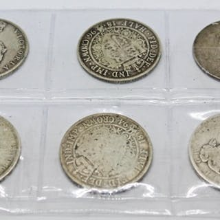 A group of six Victoria half crowns 1875, 1880, 1887, 1889, ...
