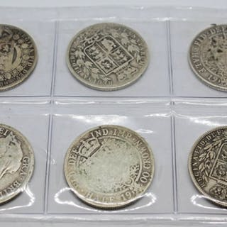 A group of six Victoria half crowns 1874, 1883, 1889, 1897 &...