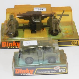 A boxed Dinky Toys die cast 88mm Gun no. 656 and a boxed Din...