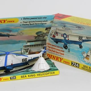 A Dinky Toys boxed die cast Sea King Helicopter 724 with flo...