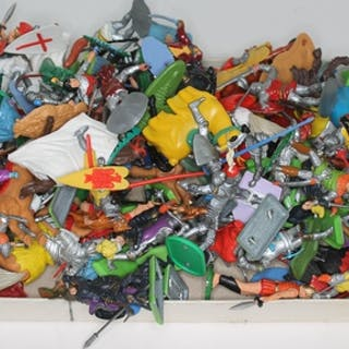 A box of Britains Detail, Timpo Toys and other plastic knigh...