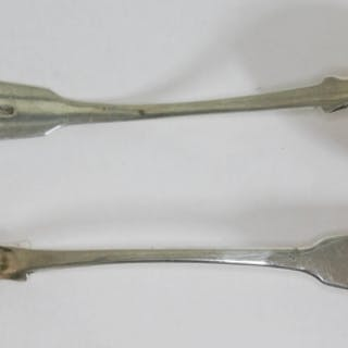 A pair of William IV Scottish silver ladles, maker's initial...