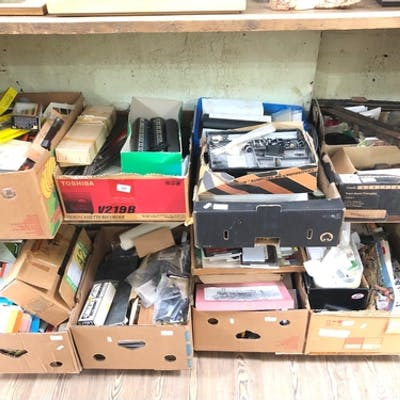 Eight boxes of model railway, mainly kits, various gauges