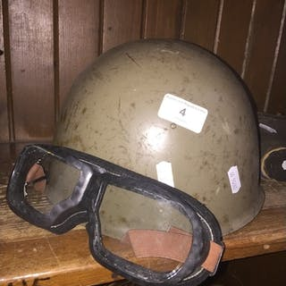 A Russian military helmet and goggles