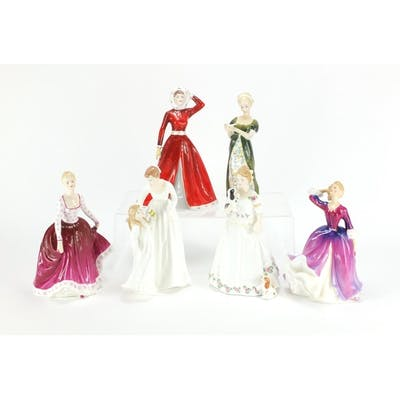 Five Royal Doulton figurines and one Coalport, Just For You