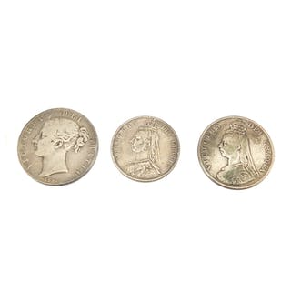 Three Victorian silver coins, 1847 crown, 1890 double florin
