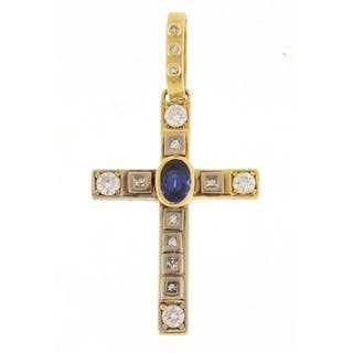 18ct gold diamond and blue stone cross pendant, 6cm in lengt...