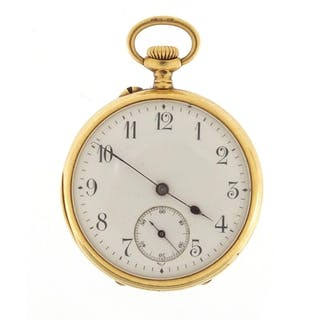 Ladies 18ct gold pocket watch with subsidiary dial, the case...